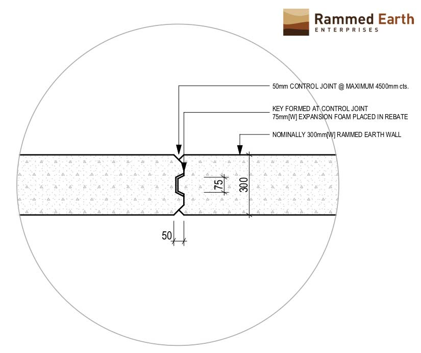 Articulation Join Detail for Rammed Earth Walls